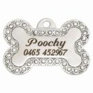 "BowWowMeow Tiermarke 'Bling', ""Knochen: Poochy"", Silber, klein/medium"