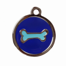"BowWowMeow Hundemarke 'Design', ""Knochen"", Blau, medium"