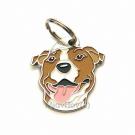 """Handbemalte Hundemarke, """"American Staffordshire Terrier weiß/braun"""""""