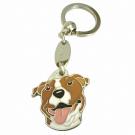 """Handbemalter Schlüsselanhänger, """"American Staffordshire Terrier weiß/braun"""""""