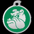 "Misstoro Hundemarke mit Emaille, ""Bulldogge"", Grün, medium"
