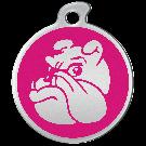 "Misstoro Hundemarke mit Emaille, ""Bulldogge"", Pink, medium"