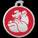 "Misstoro Hundemarke mit Emaille, ""Bulldogge"", Rot, groß"