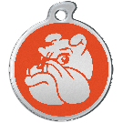 "Misstoro Hundemarke mit Emaille, ""Bulldogge"", Orange, medium"