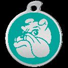 "Misstoro Hundemarke mit Emaille, ""Bulldogge"", Türkis, groß"