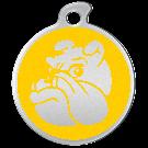 "Misstoro Hundemarke mit Emaille, ""Bulldogge"", Gelb, medium"