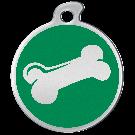 """Misstoro Hundemarke mit Emaille, """"Knochen"""", Grün, medium"""