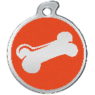 "Misstoro Hundemarke mit Emaille, ""Knochen"", Orange, medium"