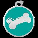 """Misstoro Hundemarke mit Emaille, """"Knochen"""", Türkis, groß"""