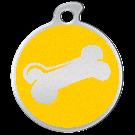 """Misstoro Hundemarke mit Emaille, """"Knochen"""", Gelb, groß"""