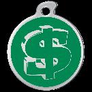 """Misstoro Tiermarke mit Emaille, """"Dollar"""", Grün, klein"""