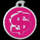 """Misstoro Hundemarke mit Emaille, """"Dollar"""", Pink, medium"""