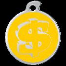 """Misstoro Tiermarke mit Emaille, """"Dollar"""", Gelb, klein"""