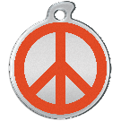 "Misstoro Hundemarke mit Emaille, ""Peace"", Orange, medium"