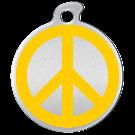 """Misstoro Hundemarke mit Emaille, """"Peace"""", Gelb, groß"""