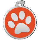"Misstoro Hundemarke mit Emaille, ""Pfote"", Orange, medium"