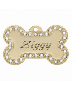 "BowWowMeow Hundemarke 'Bling', ""Knochen: Ziggy"", Gold, groß"