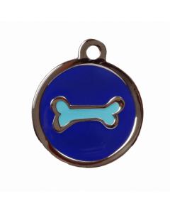 "BowWowMeow Hundemarke 'Design', ""Knochen"", Blau, groß"