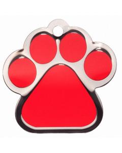 "BowWowMeow Hundemarke 'Fashion', ""Pfote"", Rot, groß"