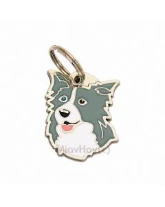 """Handbemalte Hundemarke, """"Border Collie blau mit zweifarbigen Augen"""""""