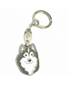 "Handbemalter Schlüsselanhänger, ""Alaskan Malamute grau/weiß"""