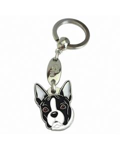 """Handbemalter Schlüsselanhänger, """"Boston Terrier schwarz/weiß"""""""