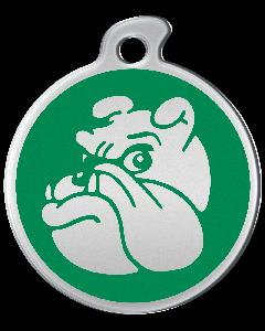 """Misstoro Tiermarke mit Emaille, """"Bulldogge"""", Grün, klein"""