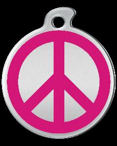 "Misstoro Hundemarke mit Emaille, ""Peace"", Pink, groß"