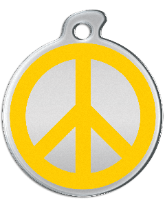 "Misstoro Hundemarke mit Emaille, ""Peace"", Gelb, medium"