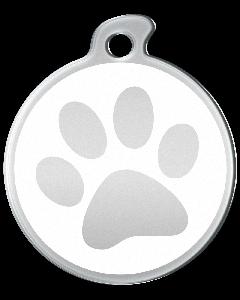 """Misstoro Hundemarke mit Emaille, """"Pfote"""", Weiß, groß"""