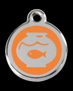 "RedDingo Tiermarke mit Emaille, ""Aquarium"", Hellorange, klein"