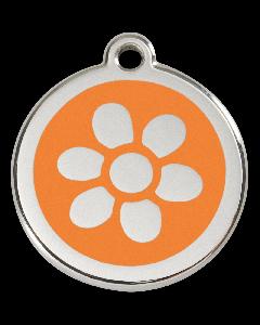 """RedDingo Hundemarke mit Emaille, """"Blume"""", Hellorange, groß"""