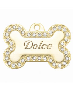 "BowWowMeow Tiermarke 'Bling', ""Knochen: Dolce"", Gold, klein/medium"