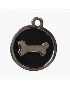"BowWowMeow Hundemarke 'Design', ""Knochen"", Schwarz, groß"
