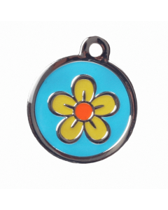 "BowWowMeow Hundemarke 'Design', ""Blume"", Hellblau, groß"