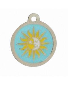 """BowWowMeow Hundemarke 'Design', """"Sonne und Mond"""", Hellblau, groß"""