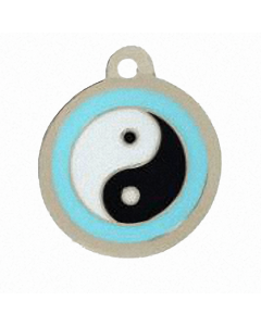 "BowWowMeow Hundemarke 'Design', ""Ying und Yang"", Hellblau, medium"