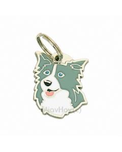 "Handbemalte Hundemarke, ""Border Collie blau"""