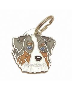 "Handbemalte Hundemarke, ""Australian Shepherd blau merle"""