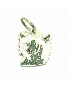 """Handbemalte Hundemarke, """"Chinesischer Schopfhund weiß/grau"""""""