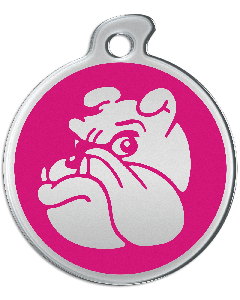"Misstoro Hundemarke mit Emaille, ""Bulldogge"", Pink, groß"