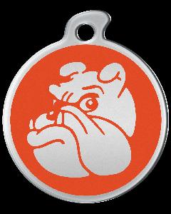 "Misstoro Hundemarke mit Emaille, ""Bulldogge"", Orange, medium"