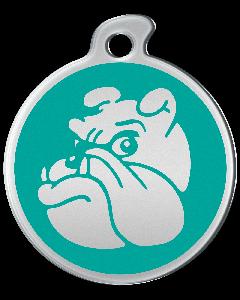 "Misstoro Hundemarke mit Emaille, ""Bulldogge"", Türkis, medium"