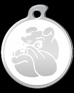 """Misstoro Tiermarke mit Emaille, """"Bulldogge"""", Weiß, klein"""