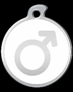 """Misstoro Tiermarke mit Emaille, """"Männlich"""", Weiß, klein"""