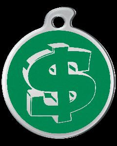 """Misstoro Hundemarke mit Emaille, """"Dollar"""", Grün, groß"""
