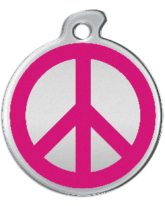 "Misstoro Hundemarke mit Emaille, ""Peace"", Pink, groß"
