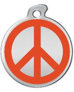 "Misstoro Hundemarke mit Emaille, ""Peace"", Orange, medium"