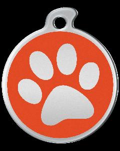 """Misstoro Hundemarke mit Emaille, """"Pfote"""", Orange, groß"""