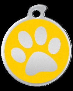 """Misstoro Hundemarke mit Emaille, """"Pfote"""", Gelb, medium"""